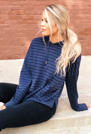 Z SUPPLY Striped Dakota Pullover Hoodie in Indigo