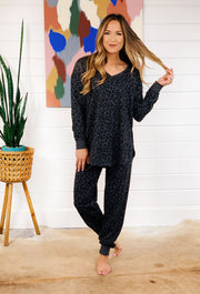 Z SUPPLY V-Neck Leopard Weekender in Black, charcoal gray pullover with black leopard spots