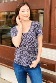 Z SUPPLY Zebra Scoop Neck Tee, dark gray and black relaxed fit tee with a zebra print and a scoop neckline from z supply