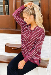 Z SUPPLY Striped Dakota Pullover Hoodie in Wine, burgundy striped pullover with hood and front pockets
