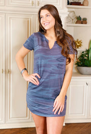 Z Supply Camo Split Neck Dress in Camo Dark Blue, blue camo zsupply dress