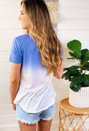 Z SUPPLY Ombre Dip Dye Crew in Bleached Denim, blue to white ombre t-shirt by zsupply