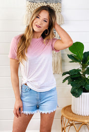 Z SUPPLY Ombre Dip Dye Crew in Zephyr Pink, pink ombre t-shirt by ZSUPPLY