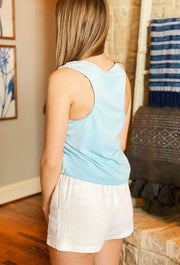 Z SUPPLY Pocket Racer Tank in Sandwashed Blue, light blue ZSUPPLY pocket tank