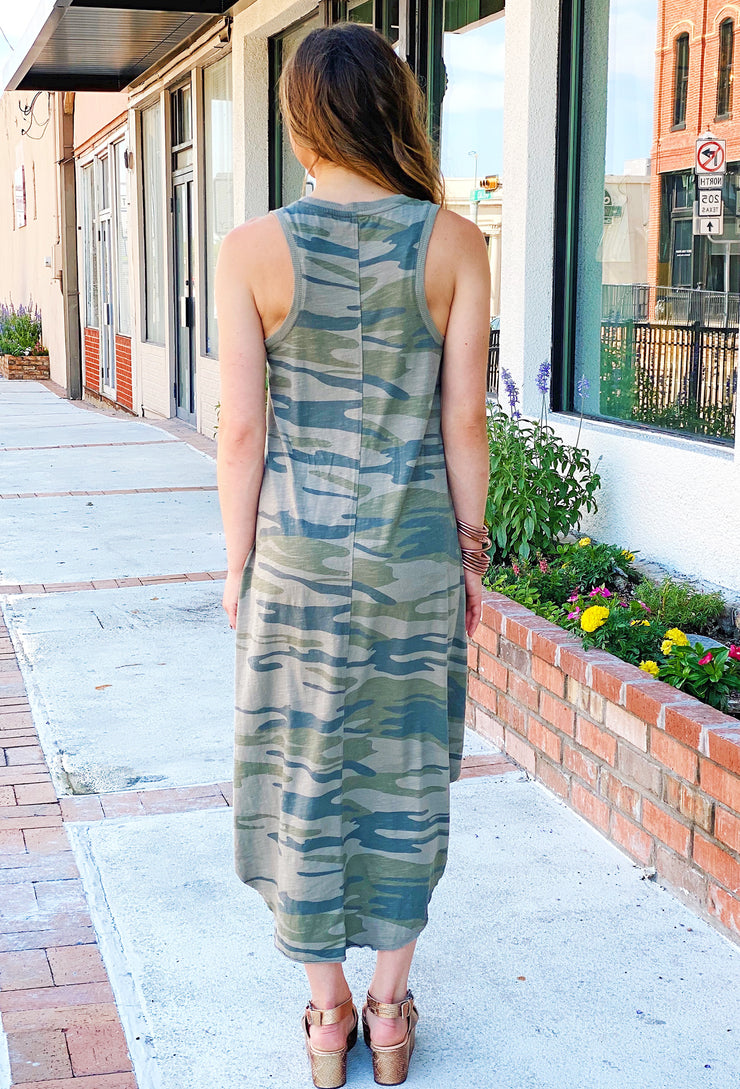 Z SUPPLY Camo Reverie Dress Light Sage, Z SUPPLY Camo Sleeveless Maxi Dress in light sage green