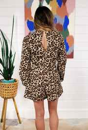 Zoie Smocked Cheetah Romper, long sleeve leopard romper with smocked bodice and tie around the waist