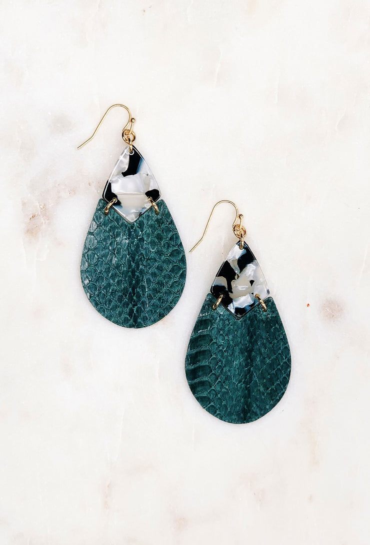 Soko Snakeskin Earrings in Black & White, stamped tear drop earring with black and white resin and gray faux snakeskin leather