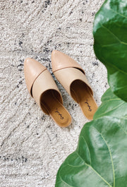 Nude Pointed Toe Mule Slides, nude pointed toe flats with cut outs