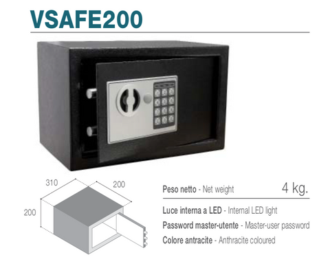 Vitrifrigo VSAFE200 - Cassaforte elettronica con apertura frontale, luce interna LED, password