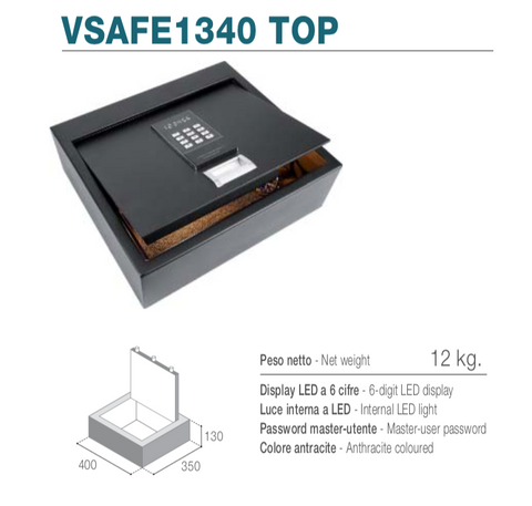 Vitrifrigo VSAFE1340 TOP - Cassaforte elettronica con apertura top loading, display LED, luce interna LED