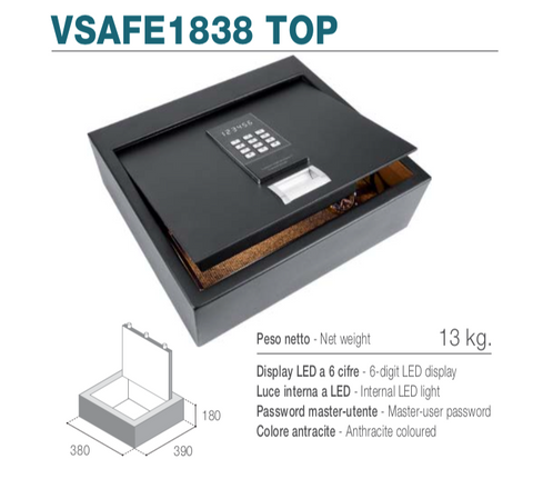 Vitrifrigo VSAFE1838 TOP - Cassaforte elettronica con apertura top loading, display LED, luce interna LED