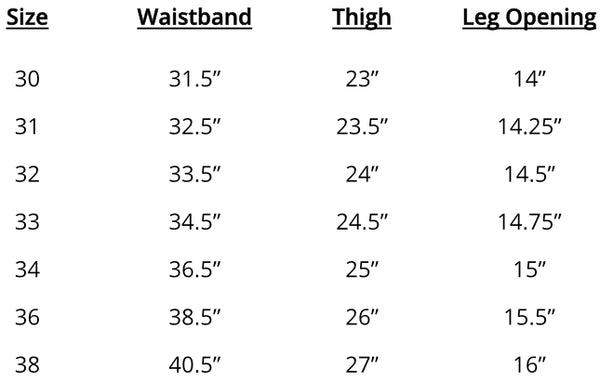 Mugsy Jeans Measurements Chart
