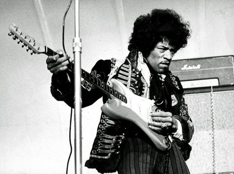 Jimi Hendrix playing Fender American Strat with Marshall amp