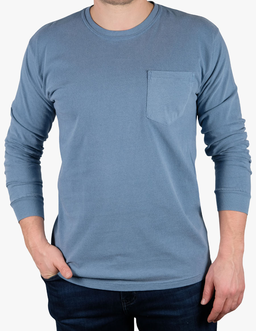 WASHED LIGHT BLUE LONG SLEEVE TEE