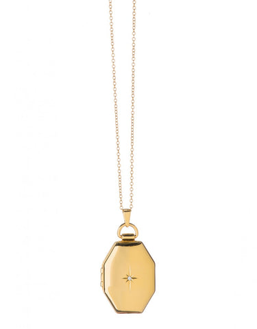 Gold Window Locket Necklace
