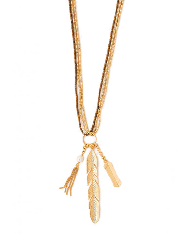 Bead Feather Necklace