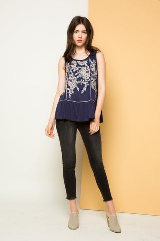 Embroidered Sleeveless Knit
