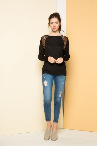 Raglan Knit Top with Embroidery