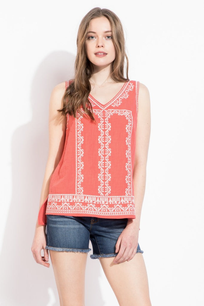 V Neck Sleeveless Top with Embroidery