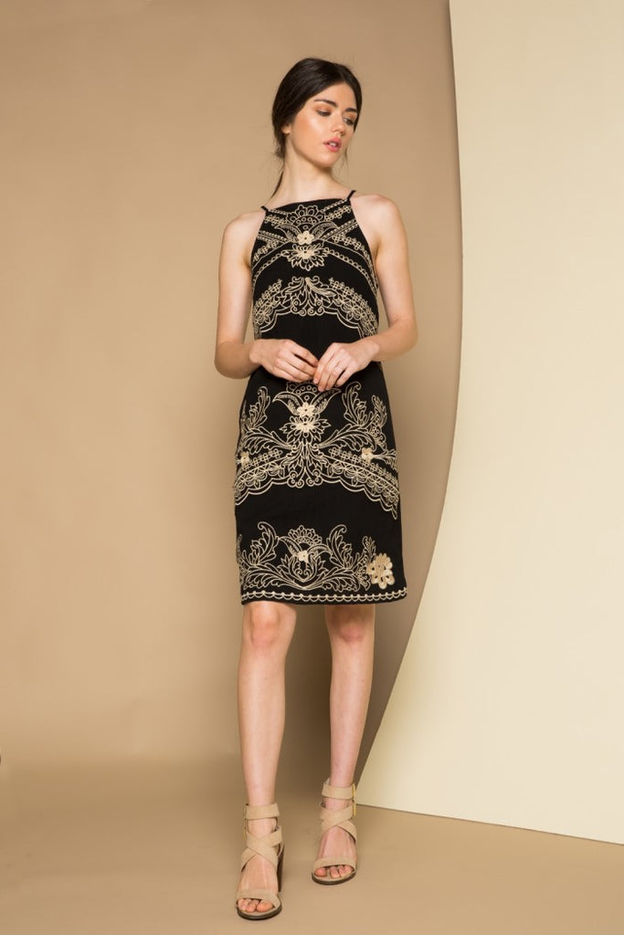 Halter Dress with All Over Embroidery