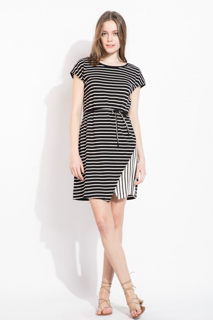 Stripe Knit Dolman Dress