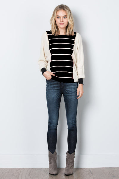 Striped Sweater with Zipper Shoulders