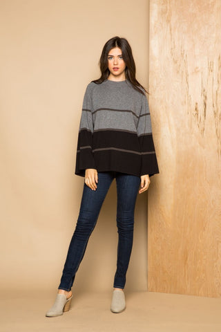 Heather Grey Stripe Bell Sleeve Sweater