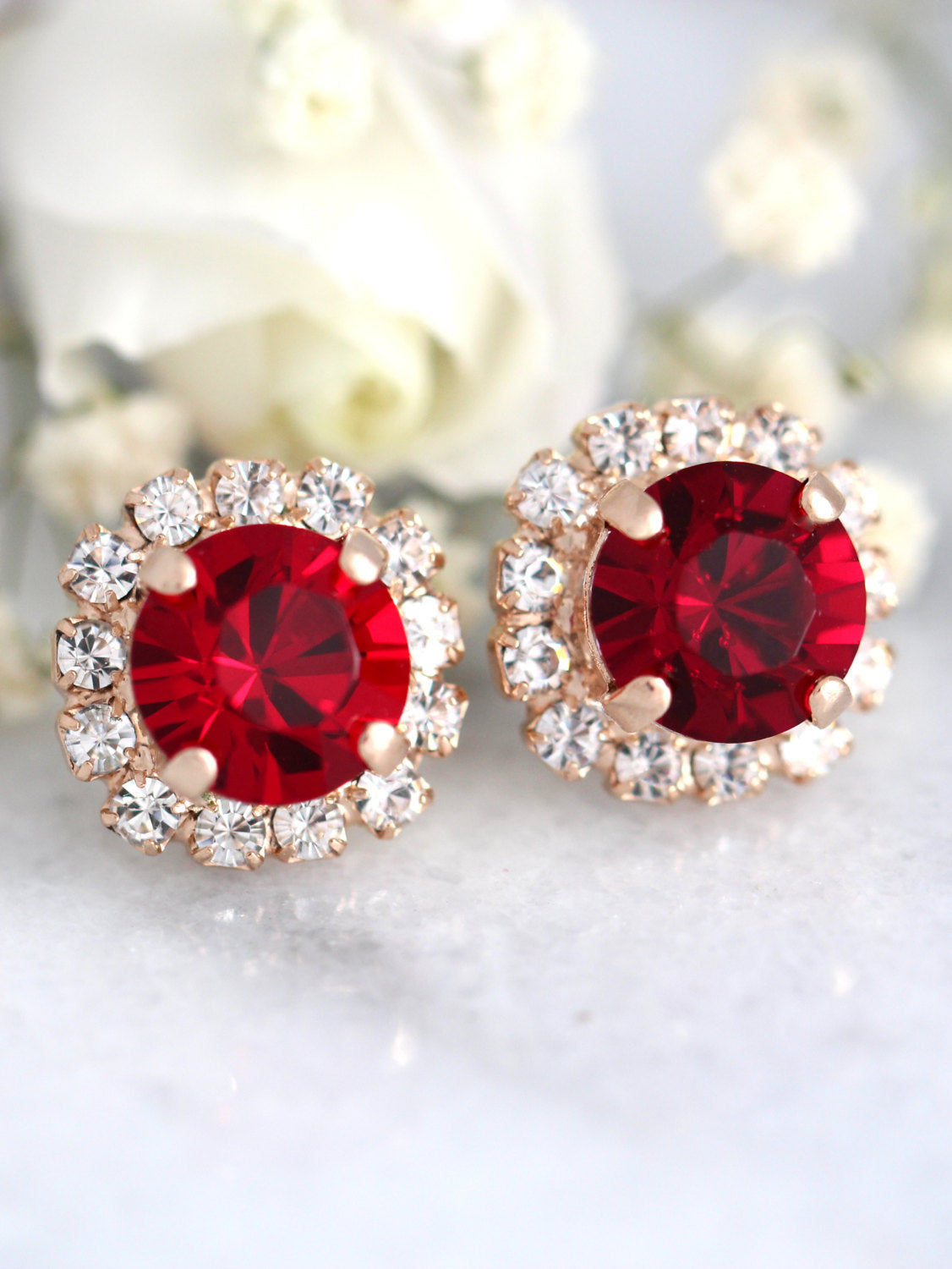 Jenny Ruby Crystal Swarovski Stud Earrings