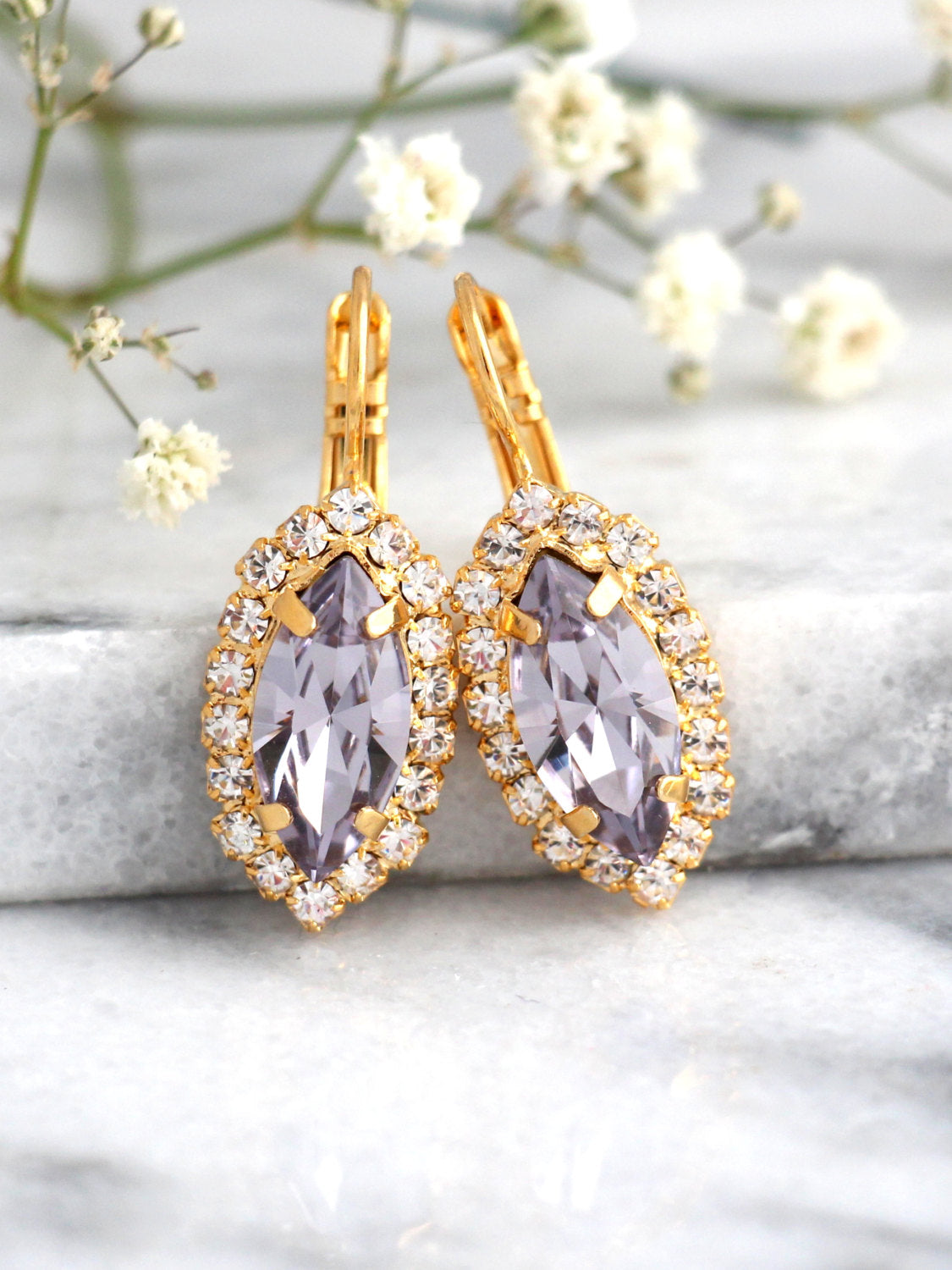 Marquize Lilac Crystal Swarovski Drop Earrings