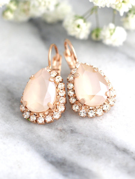 Emma Ivory Crystal Swarovski Bridal Dangel Drop Earrings