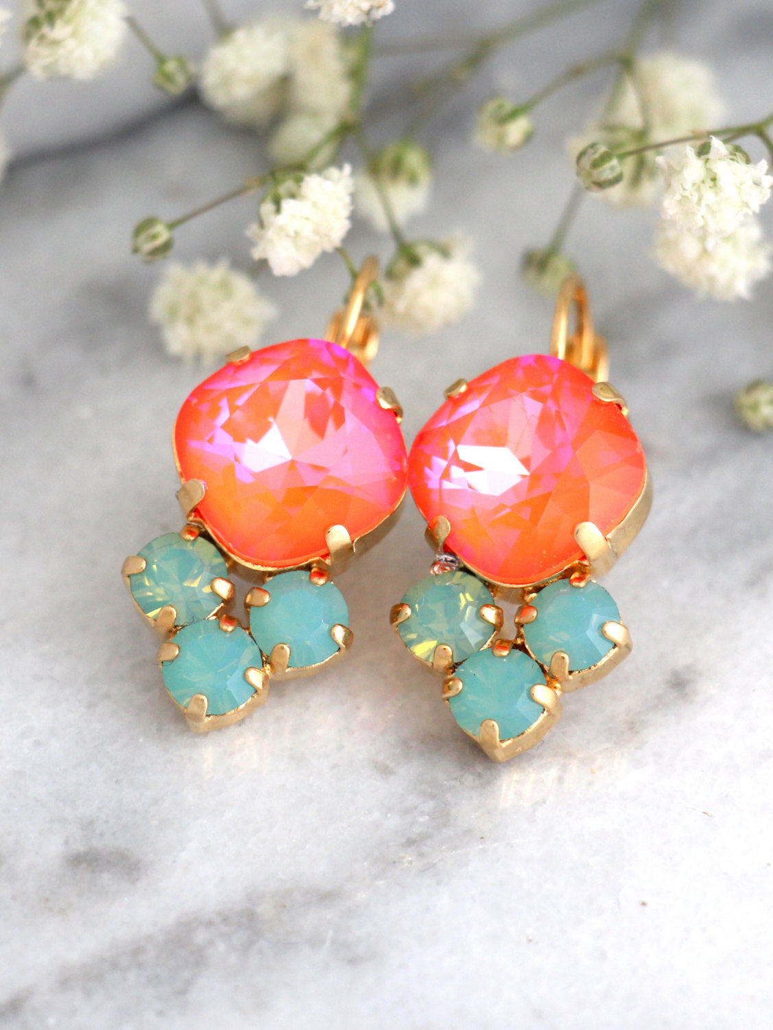 Eva Coral Mint Crystal Swarovski Dangle Drop Earrings