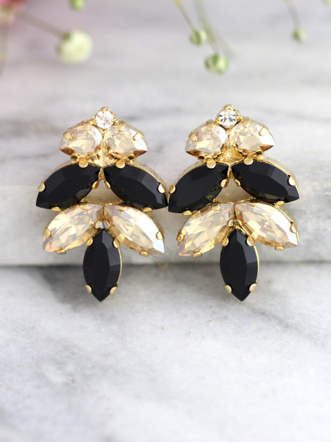 Mary Champagne Black Crystal Swarovski Cluster Earrings