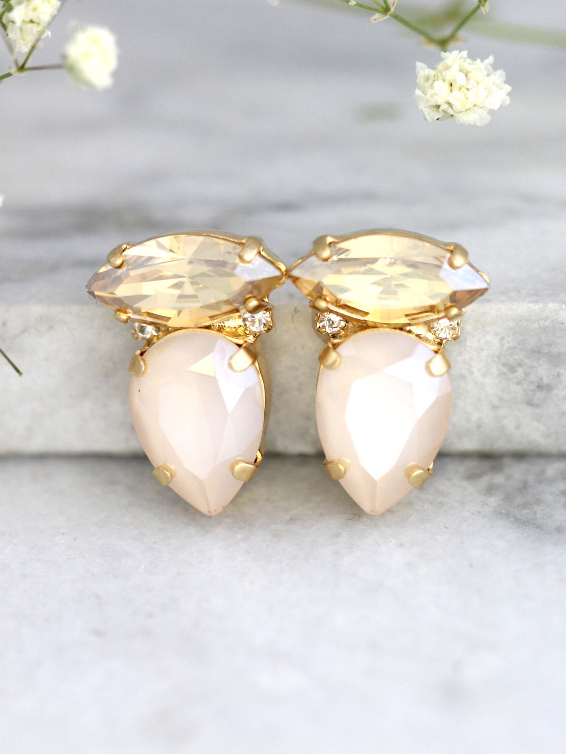 Lydia Champagne Ivory Crystal Swarovski Cluster Earrings
