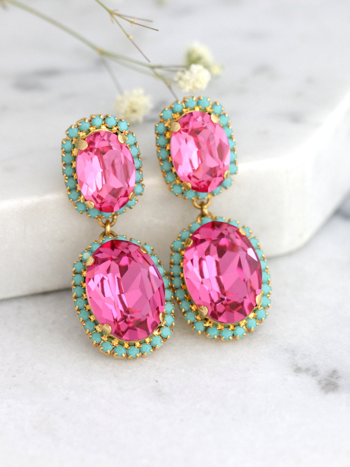 Kara Pink Turquoise Crystal Swarovski Chandelier Earrings