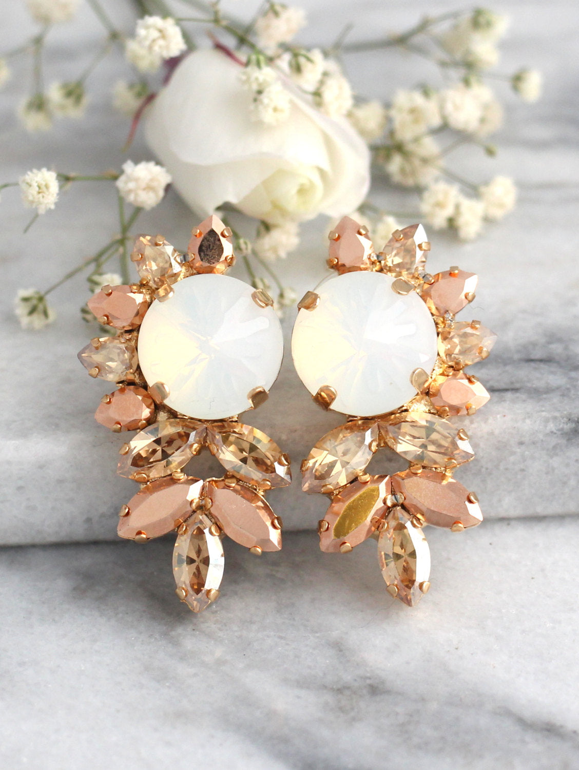 Jess Blush Champagne Crystal Swarovski Cluster Earrings