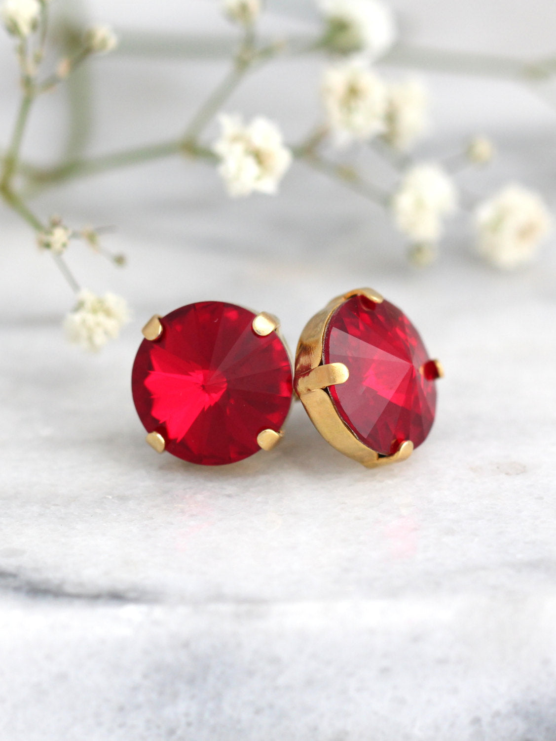 Kelly Ruby Crystal Swarovski Stud Earrings