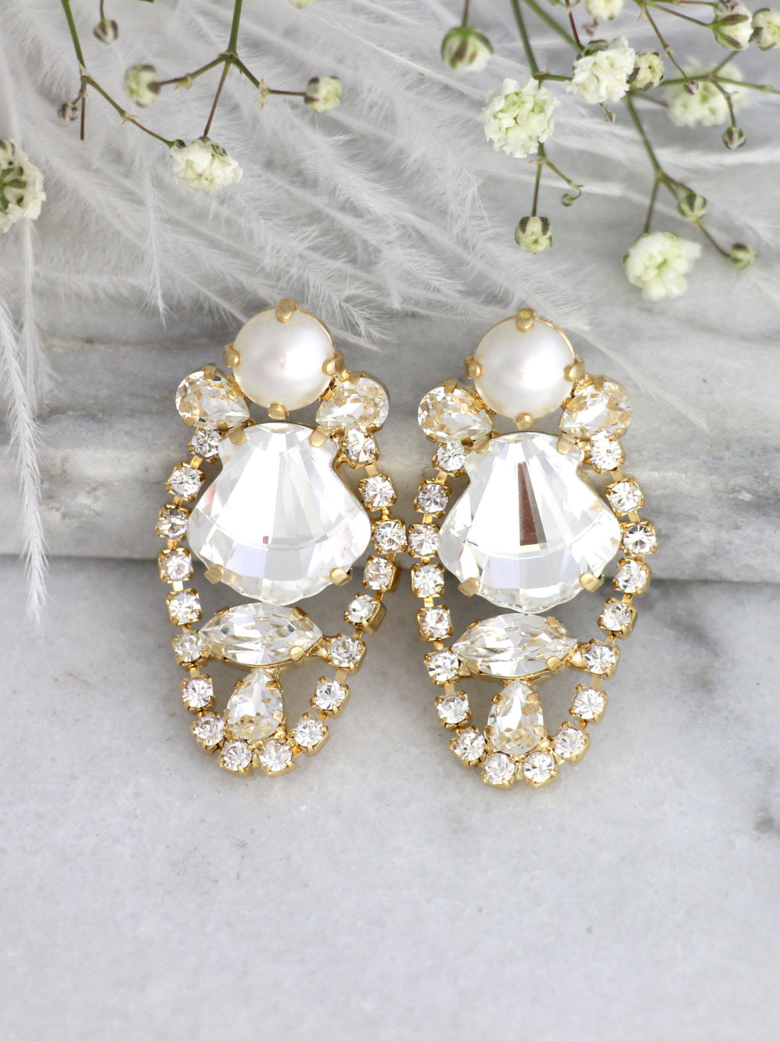 Shelly Clear Crystal Swarovski Cluster Earrings
