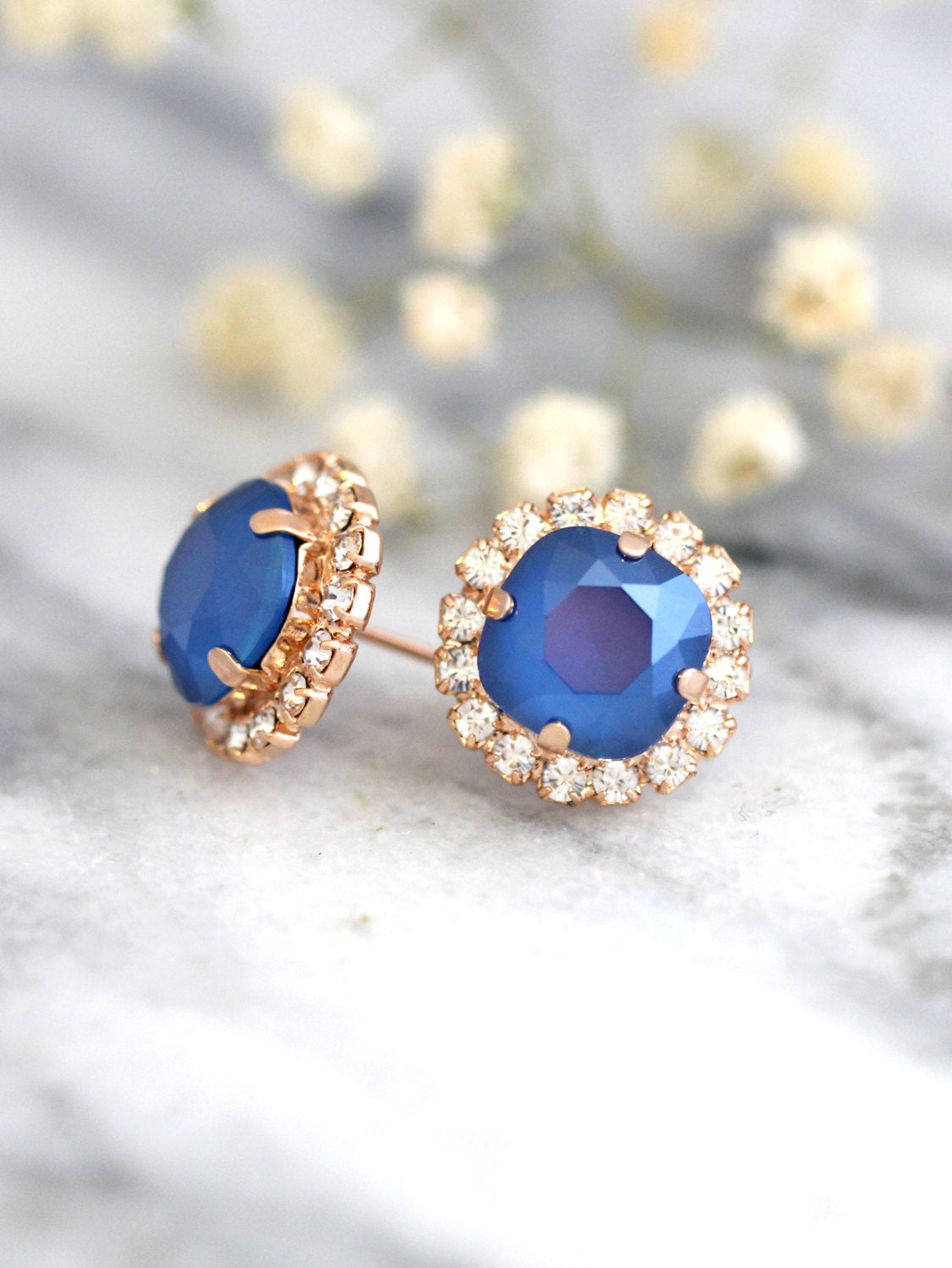 Cloe Royal Blue Crystal Swarovski Bridal Stud Earrings