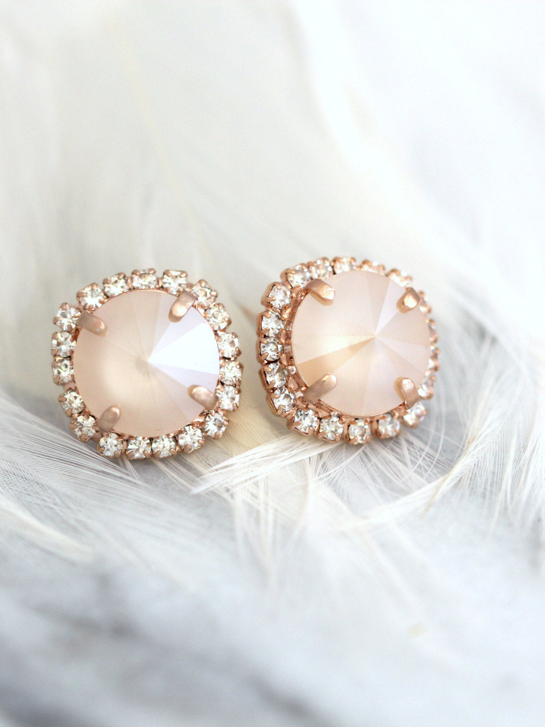 Kelly Ivory Cream Crystal Swarovski Stud Earrings