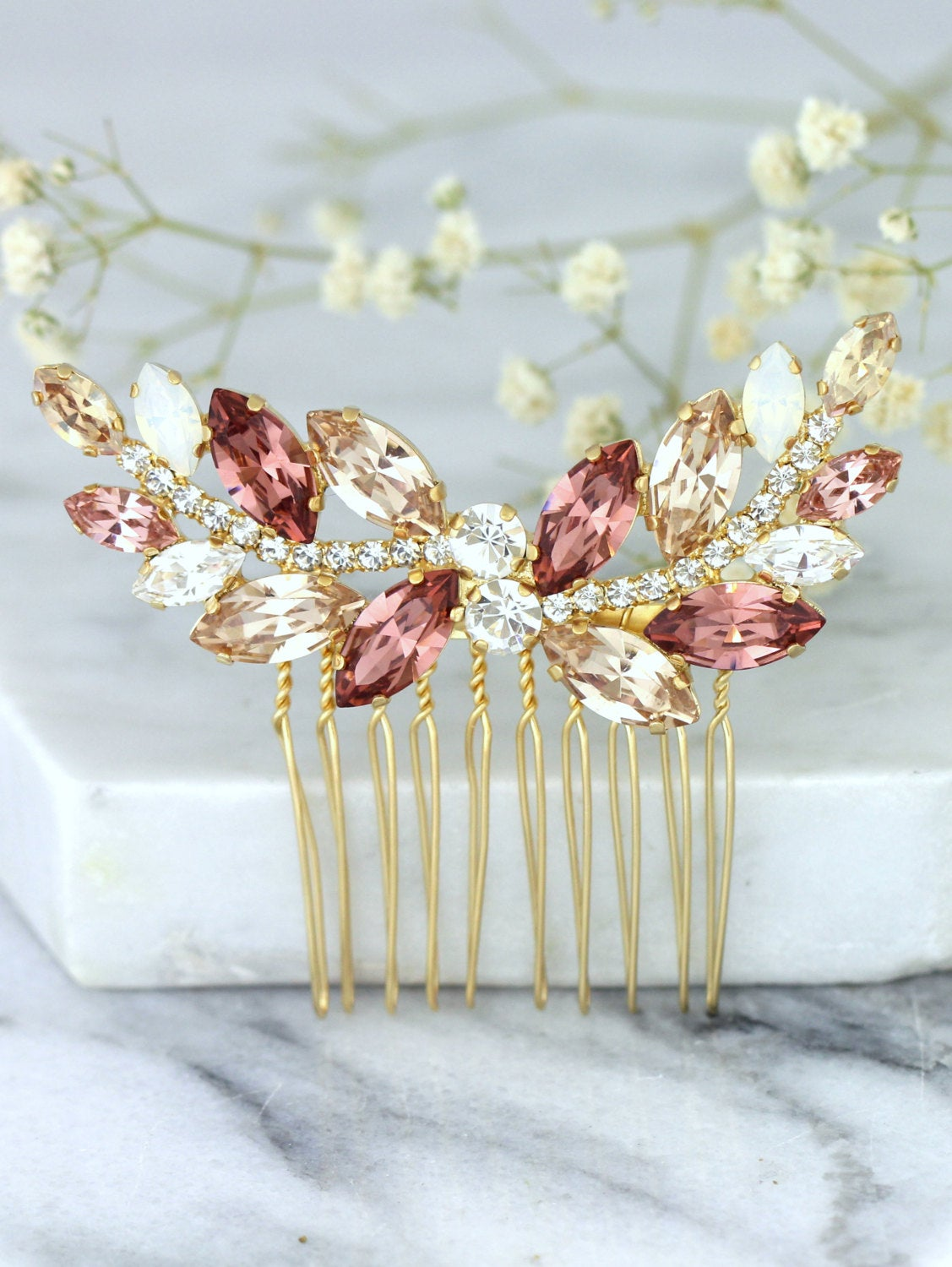 Maria Blush Rose Gold Crystal Swarovski Hair Comb