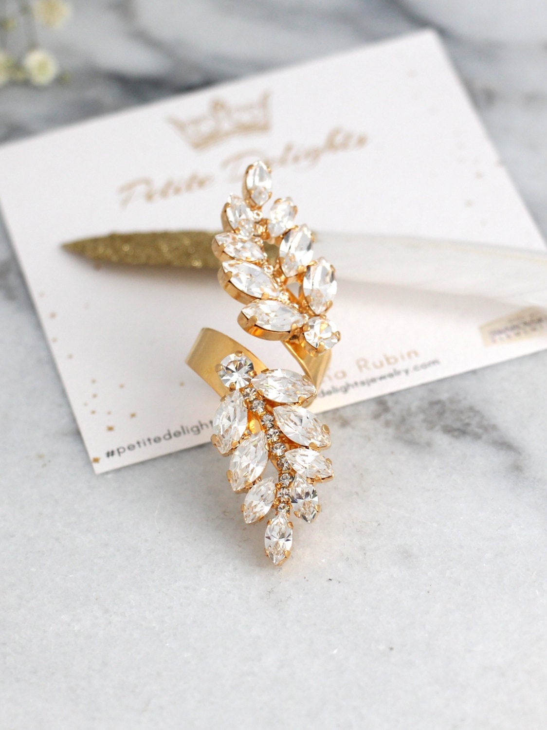 Maria Clear Crystal Swarovski Cocktail Ring