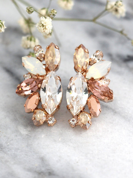 Fleur Blush Pink Champagne Crystal Swarovski Clip On Earrings