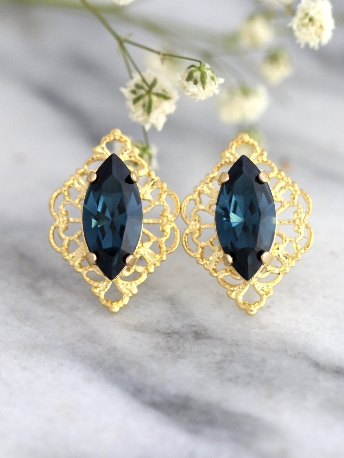 Dainty Blue Navy Crystal Swarovski Bridal Stud Earrings