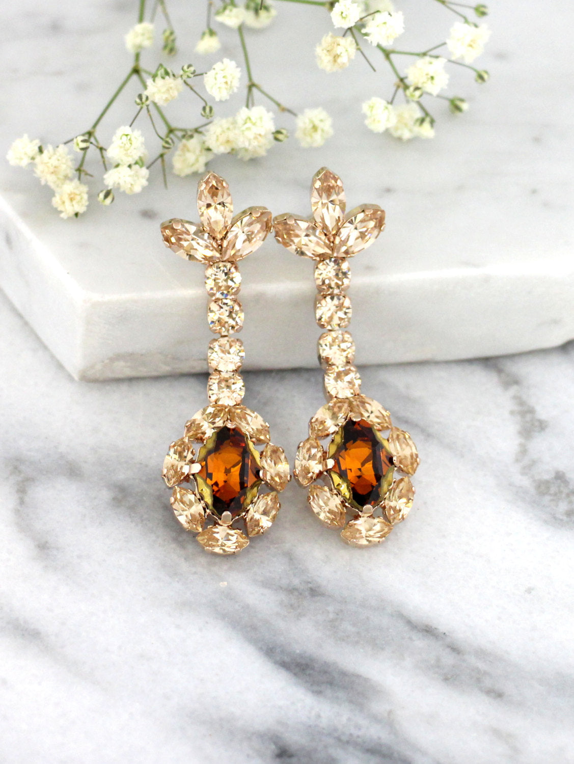 Annie  Champagne Topaz Crystal Swarovski Chandelier Earrings
