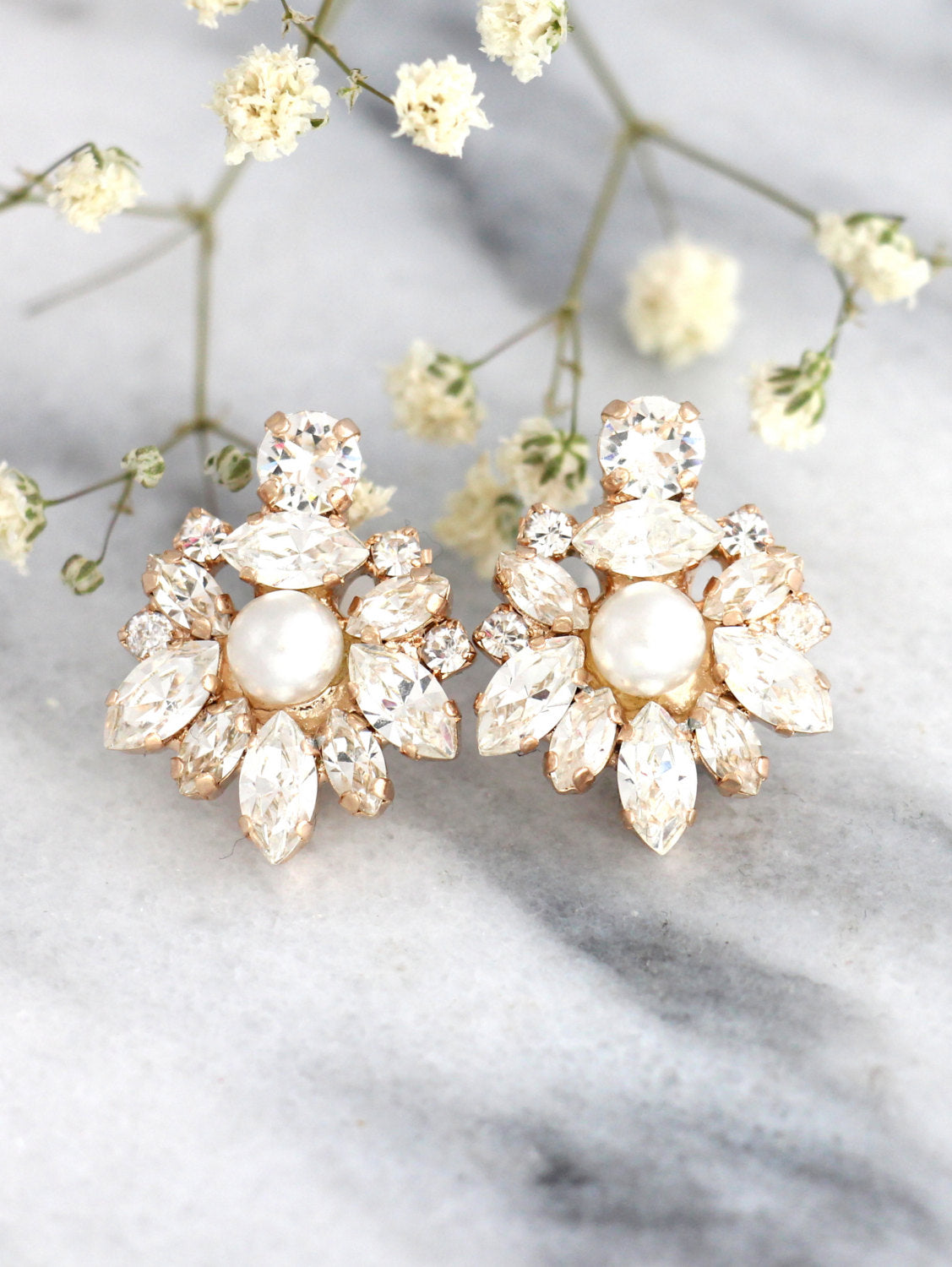 Kaila White Pearl Clear Crystal Swarovski Cluster Earrings