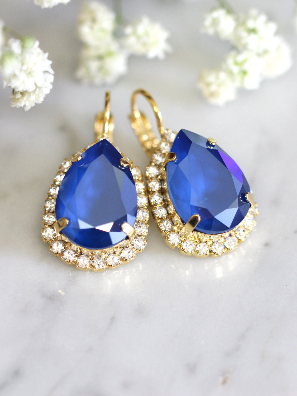 Emma Blue Crystal Swarovski Dangle Drop Earrings