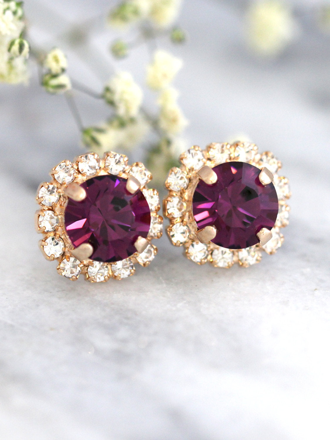 Jenny Purple Crystal Swarovski Stud Earrings