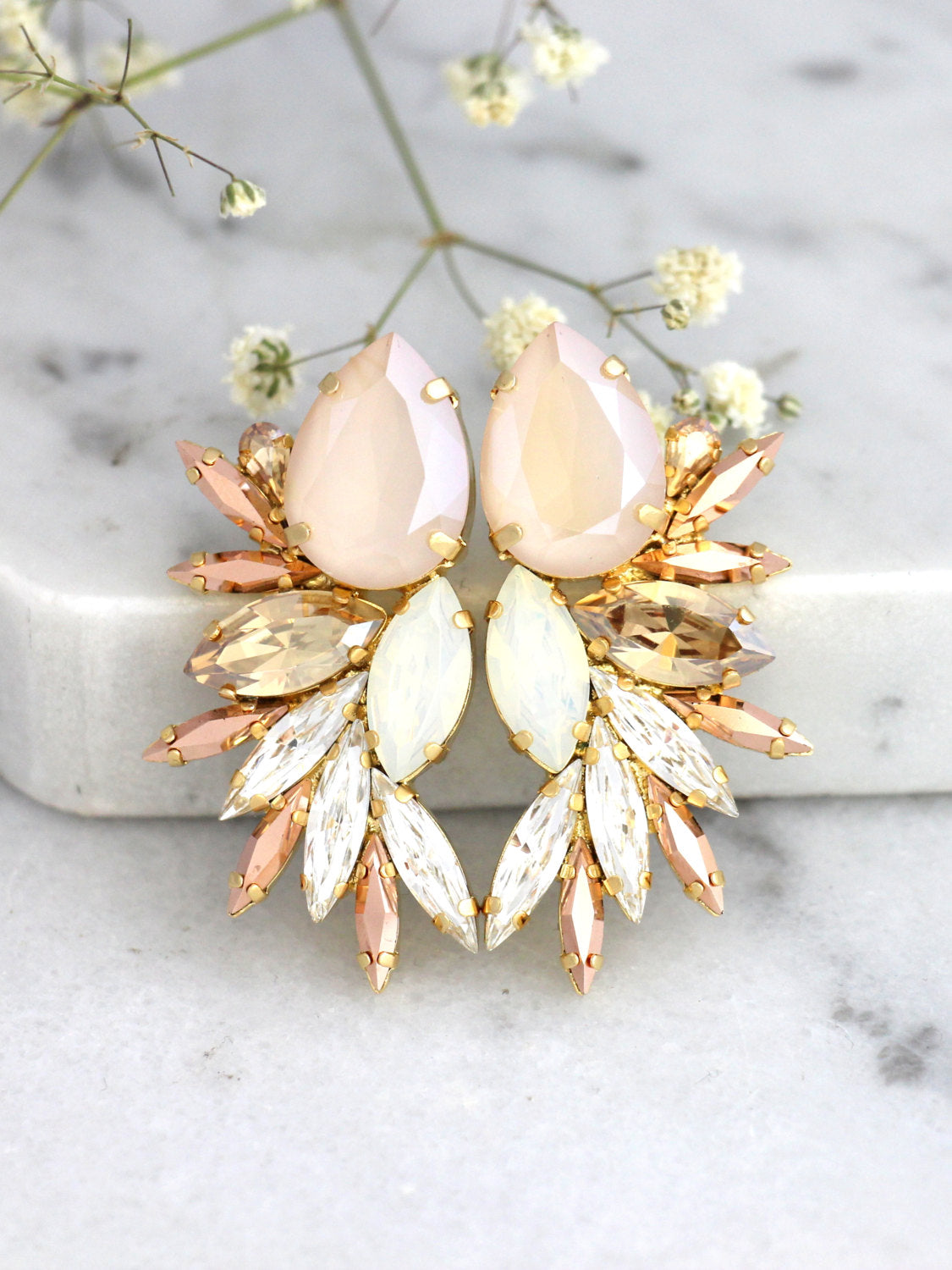 Kim Ivory Cream Rose Gold Crystal Swarovski Cluster Earrings