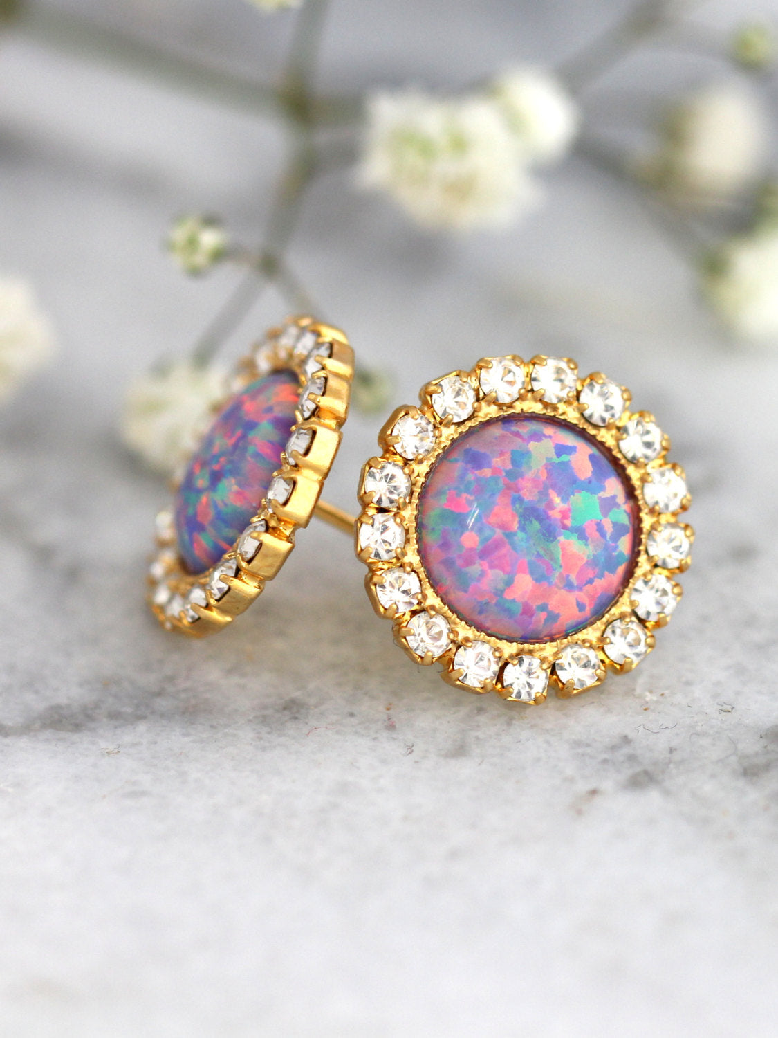 Purple Opal Crystal Swarovski Stud Earrings