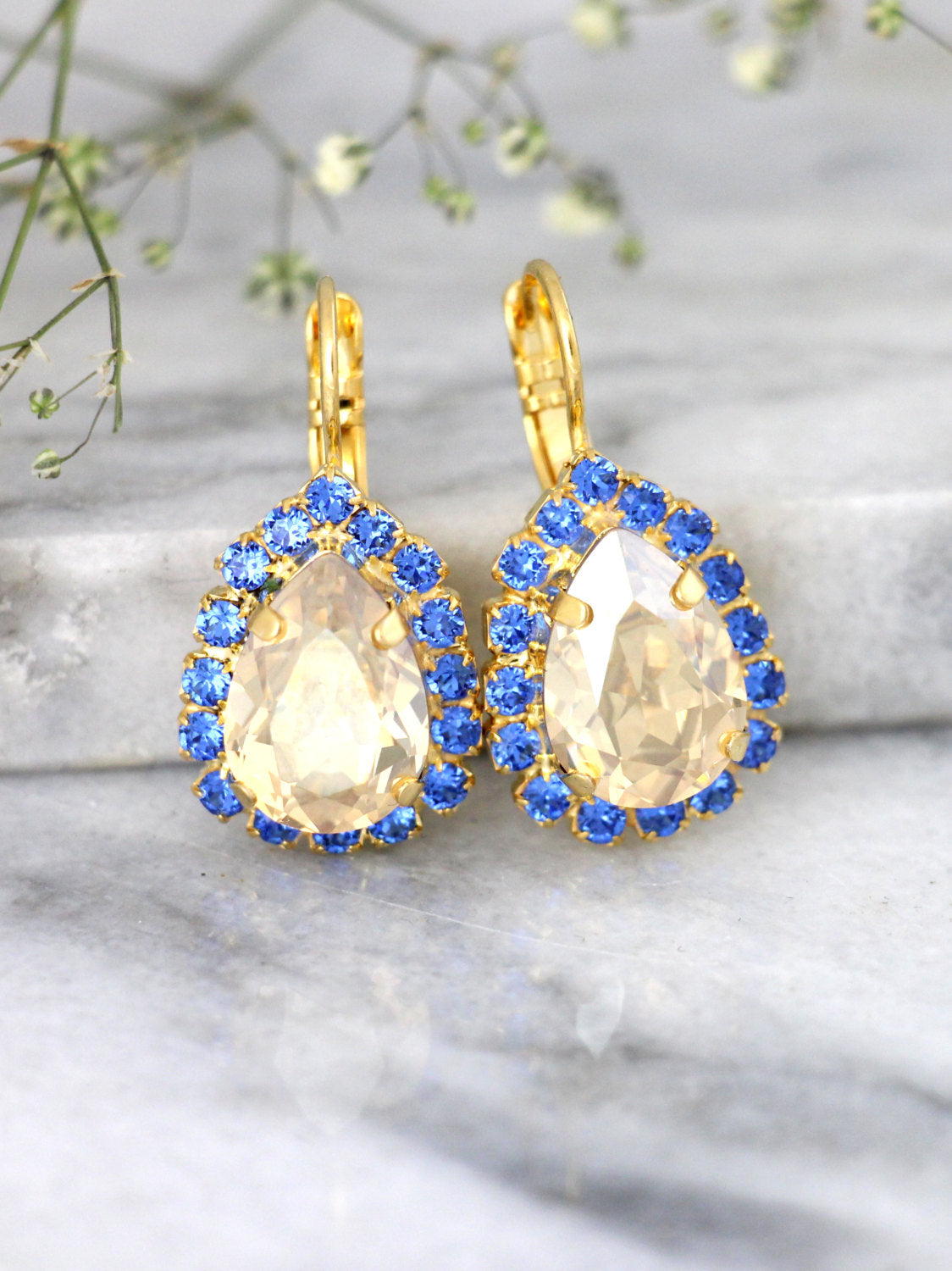 Emma Champagne Sapphire Crystal Swarovski Dangle Drop Earrings